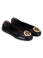 TORY BURCH Marion Quilted Minnie Flats Black Gold Sz 6