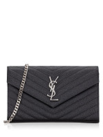 SAINT LAURENT Grain De Poudre Matelasse Monogram Chain Wallet Black Silver