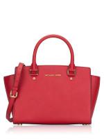 MICHAEL KORS Selma Medium Leather Satchel Red