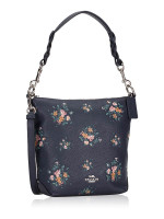 COACH 91022 Rose Bouquet Print Abby Shoulder Bag Midnight
