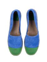 TORY BURCH Colorblock Leather Espadrilles Regal Blue Leaf Green Sz 9