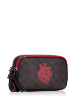 COACH 78307 Signature Strawberry Motif Crossbody Pouch Brown Black