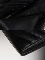 SAINT LAURENT Grain De Poudre Matelasse Monogram Chain Wallet Black Gold