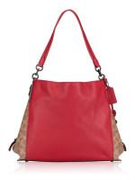 COACH 76078 Signature Blocking Dalton 31 Shoulder Bag Tan Red Apple