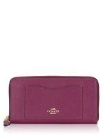 COACH 54007 Crossgrain Leather Zip Wallet Dark Berry