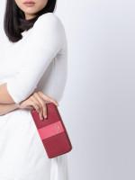 COACH 91574 Stripe Colorblock Zip Wallet Deep Scarlet Multi