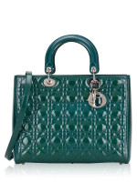 CHRISTIAN DIOR Patent Leather Large Lady Dior Green