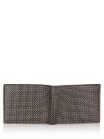 SALVATORE FERRAGAMO Men Mini Gancini Print Billfold Wallet Black