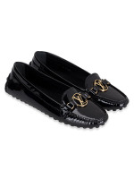 LOUIS VUITTON Patent Leather Dauphine Loafers Black Sz 40