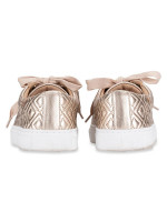 TORY BURCH Marion Quilted Lace Up Sneaker Rosegold Sz 9