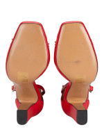 VALENTINO GARAVANI Stud Ankle Strap Platform Pumps Red Sz 35