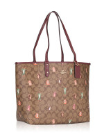 COACH 80246 Signature Party Animals Reversible City Tote Khaki Pink