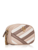 TORY BURCH Kira Chevron Colorblock Small Camera Bag Oryx Classic Taupe