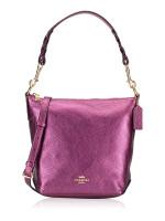 COACH 87691 Leather Mini Abby Duffle Satchel Metallic Berry