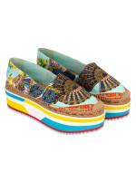 DOLCE & GABBANA Floral Print Fabric Platform Espadrilles Multicolor Sz 41