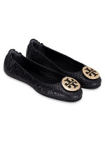 TORY BURCH MInnie Quilted Leather Flats Black Sz 8
