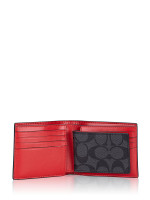 COACH Men 91626 Signature 3 In 1 Colorblock Wallet Sport Red Charcoal