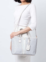 TORY BURCH Gemini Link Canvas Small Tote Ivory