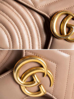 GUCCI GG Marmont Matelasse Small Flap Bag Nude