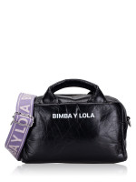 BIMBA Y LOLA Leather Zip Crossbody Black Purple
