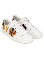 GUCCI Loved Embroidered Ace Sneakers White Sz 37.5