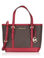 MICHAEL KORS Jet Set Travel Signature XS Top Zip Convertible Tote Scarlet