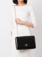SALVATORE FERRAGAMO Miss Vara Bow Patent Large Crossbody Bag Black