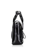 PHILLIP LIM Patent Leather Mini Pashli Black Silver