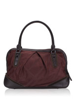 BURBERRY Nylon House Check Large Satchel Burgundy