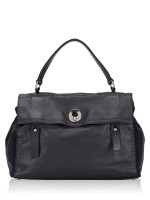 YSL Calfskin Canvas Large Muse Two Black