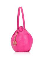 MICHAEL KORS Leather Drawstring Shoulder Bag Fuschia