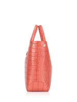 LONGCHAMP Roseau Croco Medium Pink