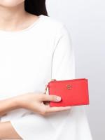 TORY BURCH Robinson Key Ring Card Case Brilliant Red