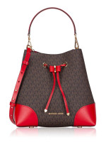 MICHAEL KORS Signature Mercer Gallery Medium Convertible Bucket Brown Bright Red