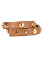 TORY BURCH Leather Logo Stud Double Wrap Bracelet Brown
