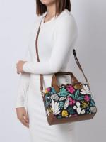 FOSSIL SHB2455992 Fiona Leather Satchel Dark Floral