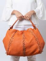 BOTTEGA VENETA Nappa Intrecciato Large Franges Shoulder Bag Tangerine