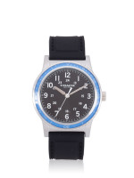 COACH Men W5015 Rivington Rubber Strap Watch Black Azure