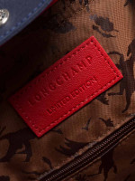 LONGCHAMP Le Pliage Cuir Badges Medium SH Red Navy