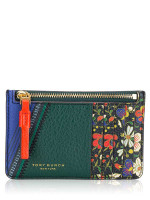 TORY BURCH Perry Mixed Print Top Zip Card Case Sacred Floral