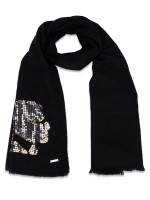 KARL LAGERFELD Sequin Accent Wool Scarf Black