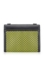 MICHAEL KORS Whitney Checkerboard Large Convertible Shoulder Bag Black Neon Yellow