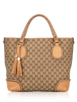 GUCCI GG Canvas Marrakech Tote Beige Brown