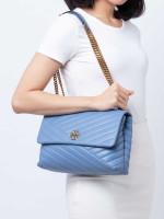 TORY BURCH Kira Chevron Flap Chain Shoulder Bag Bluewood