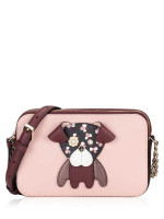 KATE SPADE Floral Pup Double Zip Small Crossbody Cherrywood