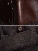 GUCCI Vintage GG Canvas Tote Bag Dark Brown