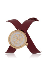 TORY BURCH TBW4031 Reva Leather Double Wrap Watch Cranberry