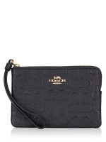COACH 67555 Signature Leather Corner Zip Wristlet Black