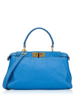FENDI Medium Selleria Peekaboo Iconic Satchel Blue