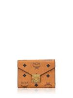MCM Patricia Visetos Three-Fold Wallet Cognac